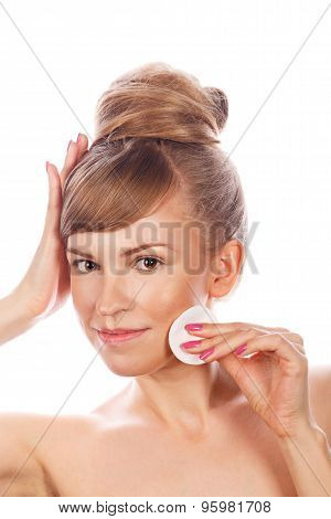 Girl With Nude Makeup Holds Cotton Pad And Smiling.