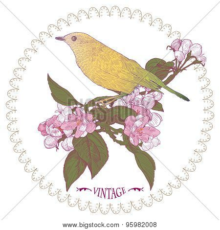 Floral Greeting Card With Yellow Bird Sitting Down