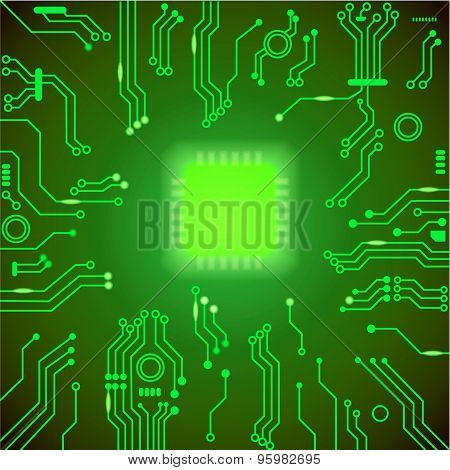 Circuit board green vector background.  motherboard Processor and chip, cpu computer design, vector