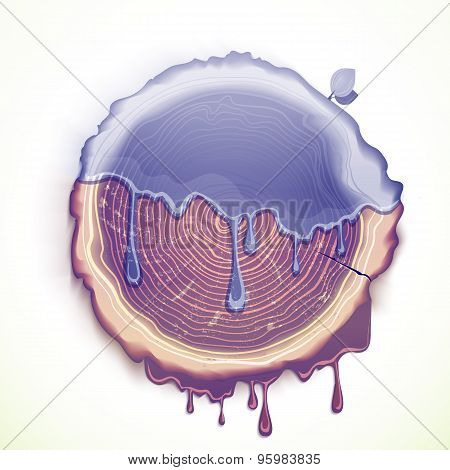 Vector Drawing Tree Cut Ecology Problem Concept
