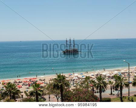 ALANYA, TURKEY - JUNE 13, 2014: Alanya - the beach of Cleopatra . Alanya is one of most popular seaside resorts in Turkey