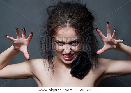Witch With Black Nails
