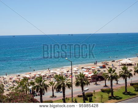 ALANYA, TURKEY - JUNE 24, 2014: Alanya - the beach of Cleopatra . Alanya is one of most popular seaside resorts in Turkey