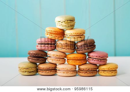 Pyramid Of Multi-colored Macarons