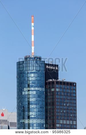 Top Of Main Tower Skyscraper In Frankfurt, Germany