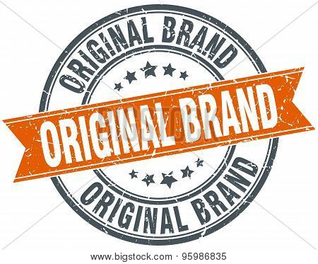Original Brand Round Orange Grungy Vintage Isolated Stamp