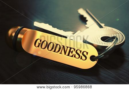 Goodness written on Golden Keyring.