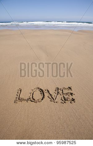 Love Text In Sand Beach