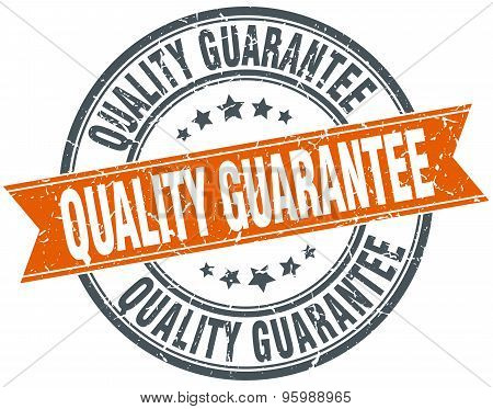 Quality Guarantee Round Orange Grungy Vintage Isolated Stamp