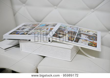White Leather Wedding Photo Book Album
