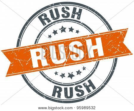 Rush Round Orange Grungy Vintage Isolated Stamp