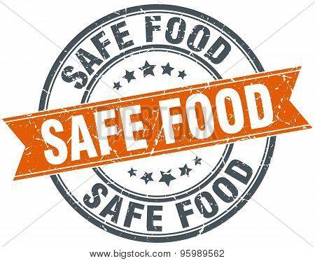 Safe Food Round Orange Grungy Vintage Isolated Stamp