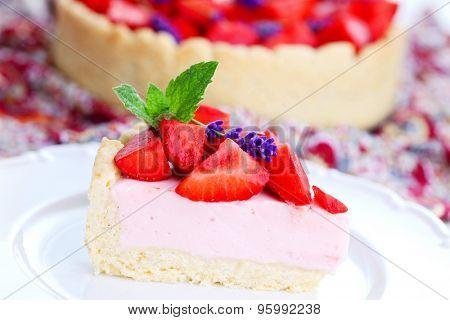 homemade strawberry cheesecake - sweet food
