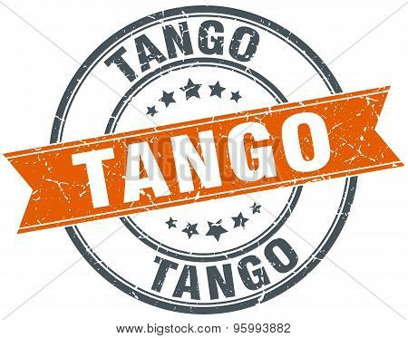 Tango Round Orange Grungy Vintage Isolated Stamp