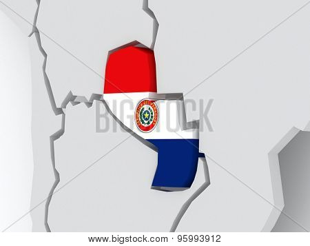 Map of worlds. Paraguay. 3d