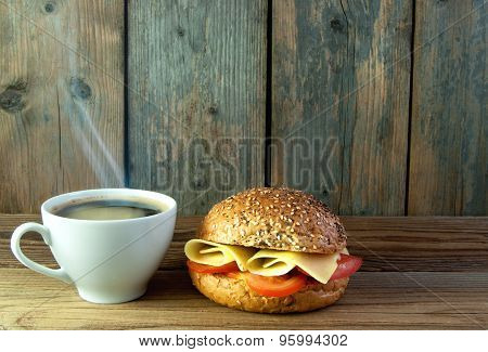 Breakfast Coffee And Sandwich Background