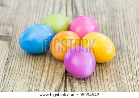 Colorful Group Of Dyed Or Painted Easter Eggs