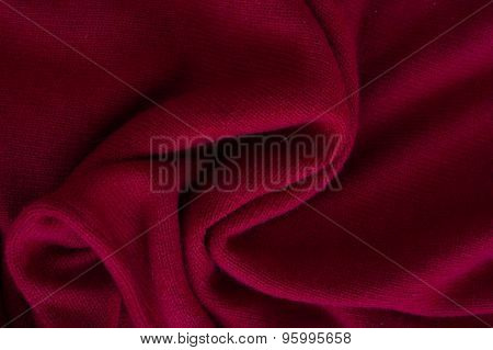 Close Up Of Red Wrinkled Cashmere Texture