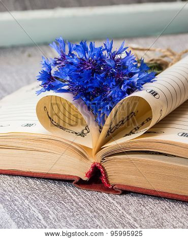 Book Pages Folded Into A Heart And A Flower Of Bouquet Cornflower