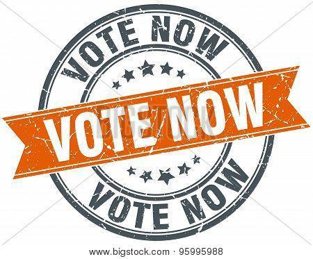 Vote Now Round Orange Grungy Vintage Isolated Stamp