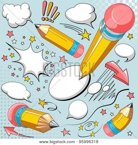 Set of sharpened yellow pencils, comics style speech bubbles