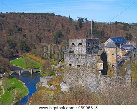 View on the Bouillon castle near Semois river in Belgium.