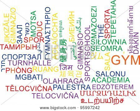 Background concept wordcloud multilanguage international many language illustration of gym