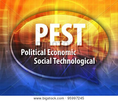 word speech bubble illustration of business acronym term PEST Political Economic Social Technological