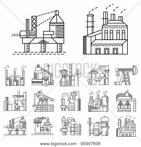Flat line vector icons for factories