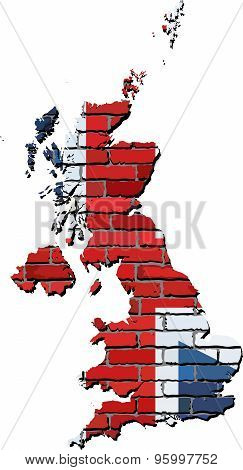 Great Britain Map On A Brick Wall