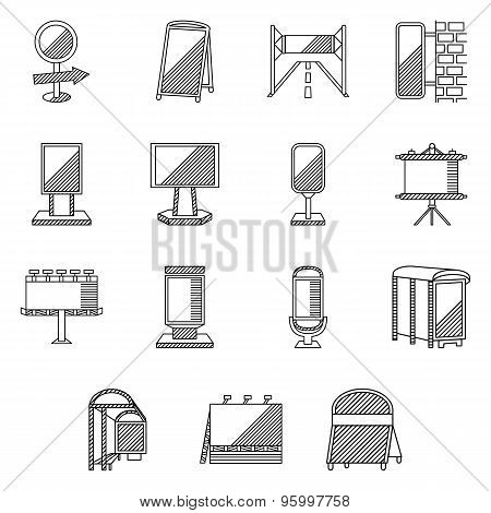 Flat line vector icons for outdoor advertising