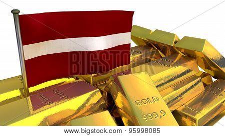 Latvian economy concept with gold bullion