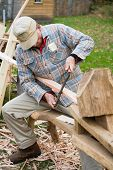 stock photo of workhorses  - carpentry doing it the old way in delaware watergap - JPG