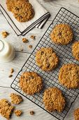 picture of baked raisin cookies  - Homemade Oatmeal Raisin Cookies Ready to Eat - JPG