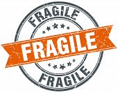 pic of fragile sign  - fragile round orange grungy vintage isolated stamp - JPG