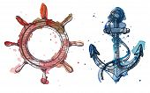 foto of anchor  - Watercolor and ink illustration of an anchor and a steering wheel - JPG