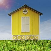 Yellow hut on a green field