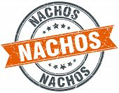 picture of nachos  - nachos round orange grungy vintage isolated stamp - JPG