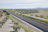 picture of high-speed  - empty railway of high speed train in a landscape from Spain - JPG