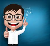 picture of professor  - 3D Realistic Nerd School Boy Student or Professor with Eyeglasses Happy Smiling with New Great Ideas in Blue Background Space for Texts - JPG