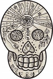 picture of sugar skulls  - Etching engraving handmade style illustration of a sugar skull tattoo that is completely decorated with leaves snake and dagger set on isolated background - JPG