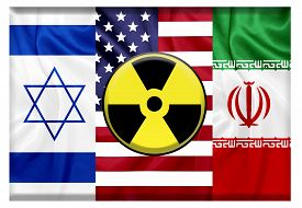 stock photo of reactor  - Flags of United states Israel and Iran with nuclear icon - JPG