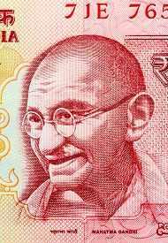 stock photo of gandhi  - Closeup of Mahatma Gandhi on 20 Rupees Indian currency note - JPG