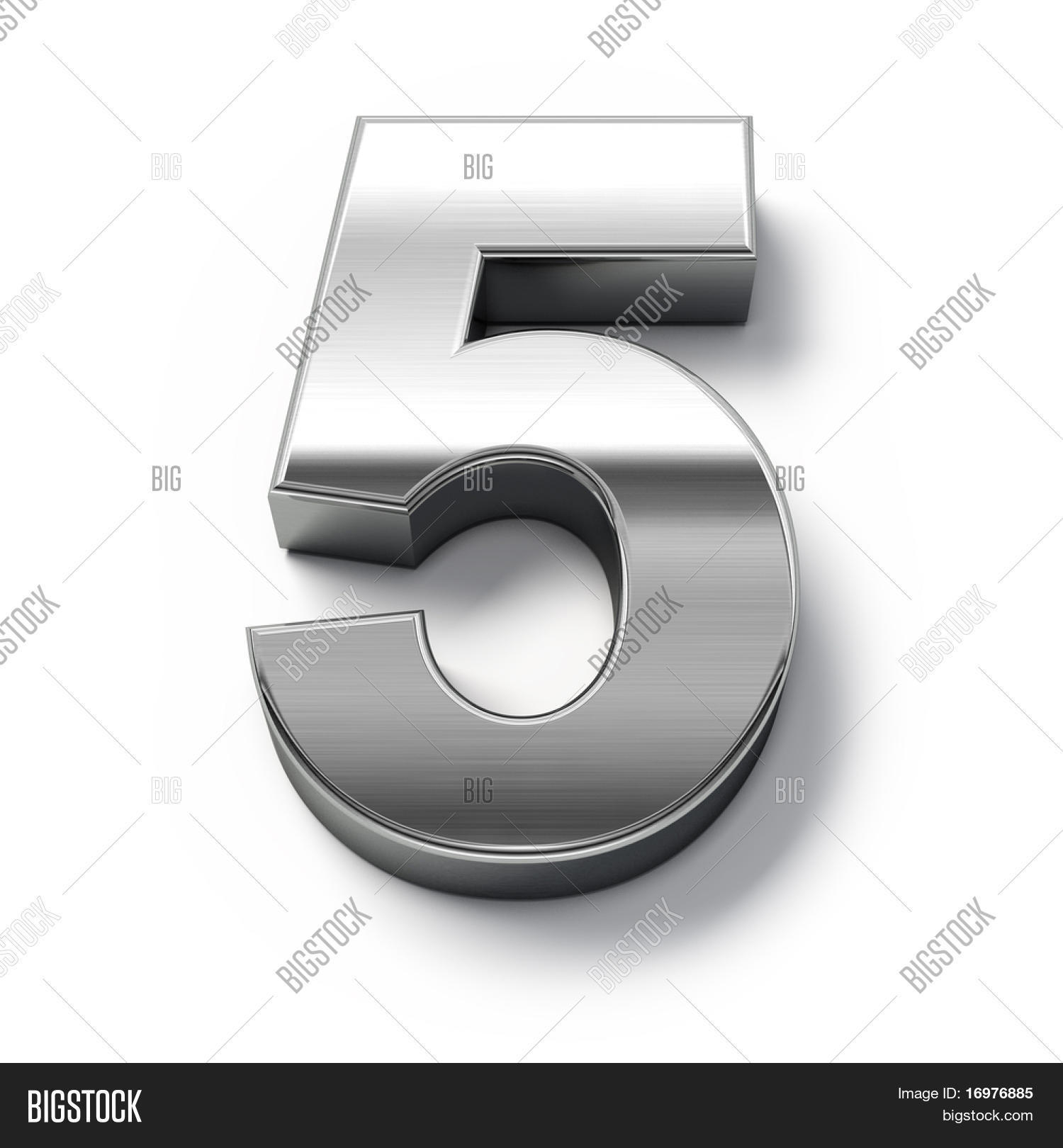 3d metal numbers number 5 image photo bigstock for Large 3d numbers