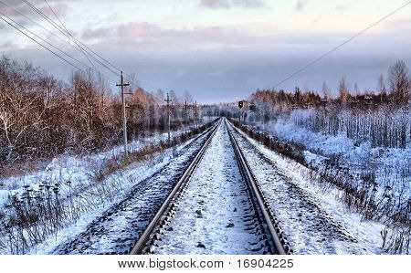 railway in winter. hdr