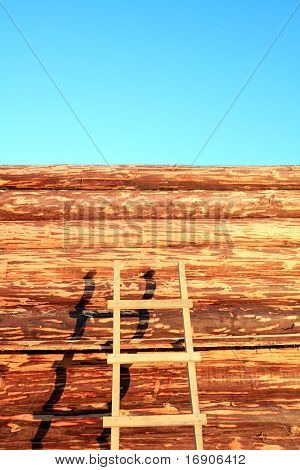 wall of the new wooden building