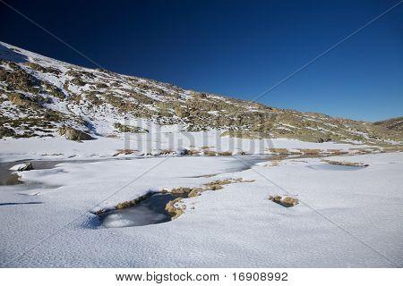 Iced Lake At Gredos Mountains