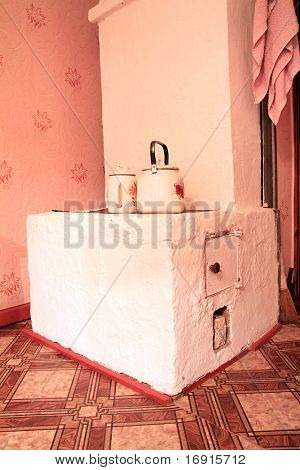 brick stove in rural house