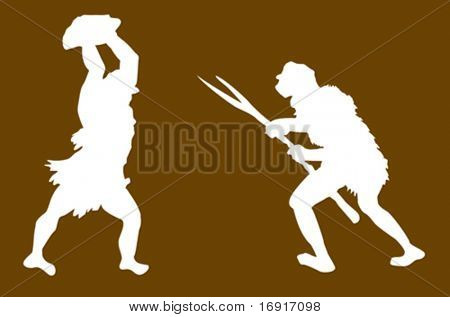 vector silhouette of the ancient person on brown background