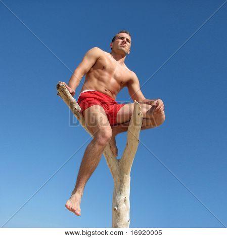 boy is sitting on a snag